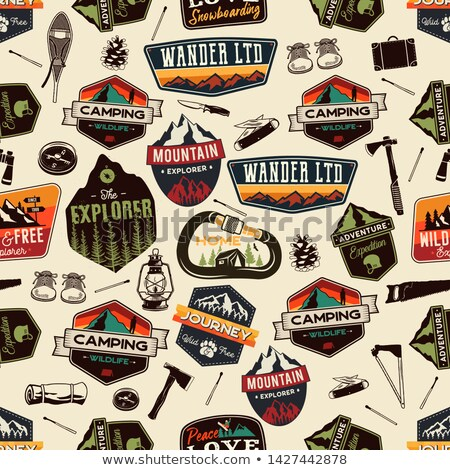 Camping patches pattern design - Outdoors Adventure seamless background with trees and quote - wande Stock photo © JeksonGraphics