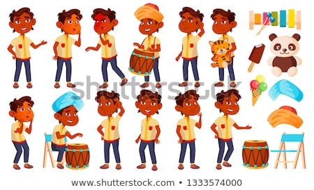 Indian Boy Kindergarten Kid Poses Set Vector. Preschool, Childhood. Friend. For Postcard, Cover, Pla Stock photo © pikepicture