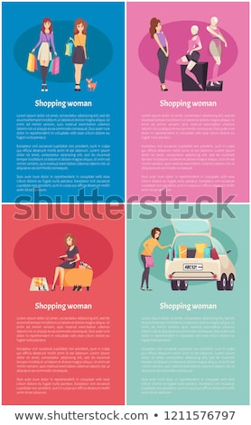 female lady walking pet trying new shoes vector stock photo © robuart