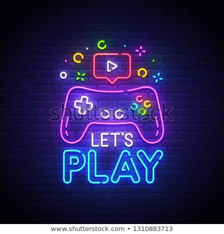 Oyun oynamak neon dizayn imzalamak kulüp Stok fotoğraf © Anna_leni