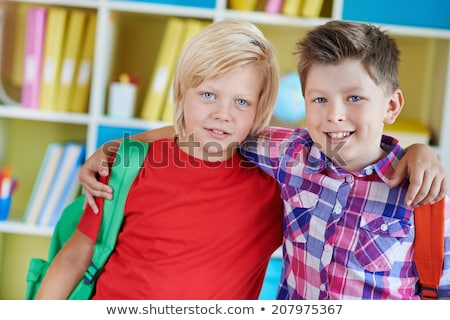 Portrait of two school friends with backpacks Stock photo © Lopolo