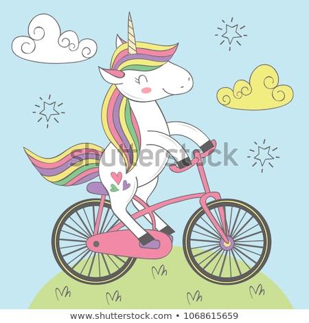 felice · cielo · illustrazione · cavallo · sfondo · divertimento - foto d'archivio © zsooofija