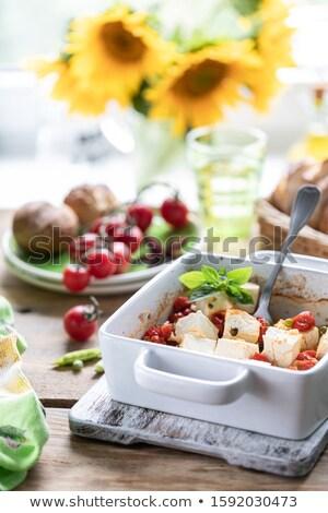 フェタチーズ トマト チーズ 唐辛子 バーベキュー ギリシャ語 ストックフォト © BarbaraNeveu