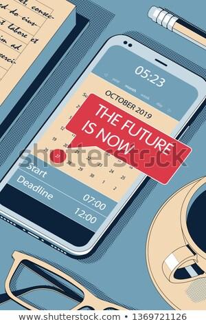 The Future Is Now Vector Halftone Isometric Illustration Foto stock © Tashatuvango