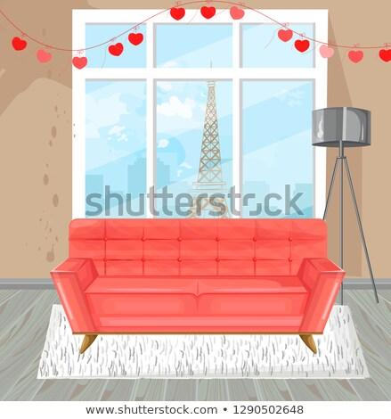 Sala de estar vermelho sofá aquarela vetor sofá Foto stock © frimufilms
