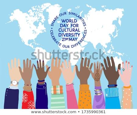 Kulturális diverzitás nap poszter szín emberi Stock fotó © cienpies