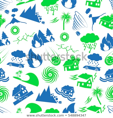 Natural disaster icon set pattern Stock photo © netkov1