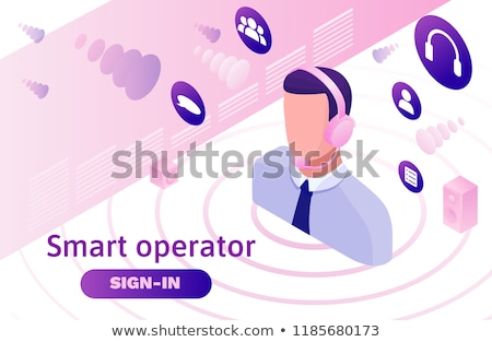 Call center isometric 3D landing page. Stock photo © RAStudio