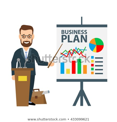 Worker Making Business Plan, Infographics Diagram Stock photo © robuart