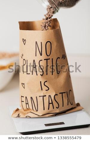 Szöveg nem műanyag fantasztikus papírzacskó magasról fotózva Stock fotó © nito