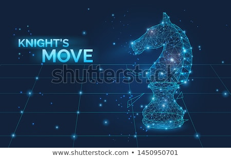 knights move sign and low poly chess horse vector illustration symbol of business strategy promot stock photo © marysan