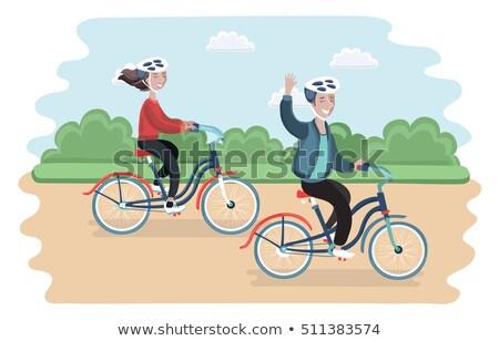 Ciclista equitación bicicleta anunciante carretera Foto stock © marish