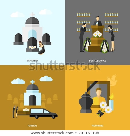 Funeral flat icon set Stock photo © netkov1
