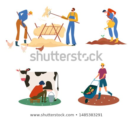 Farmers at Farm Milkmaid and Farming Man with Tool Stock photo © robuart