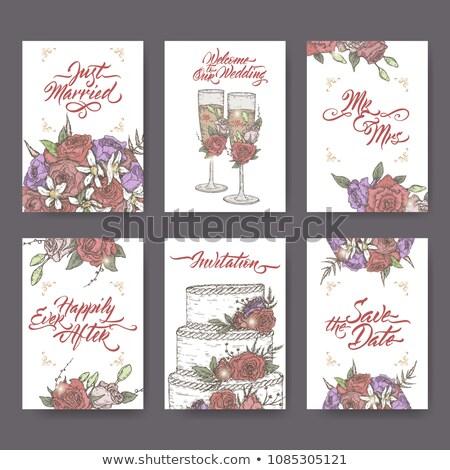 Kuchen Gruß handschriftlich Postkarte Plakat Stock foto © Anna_leni