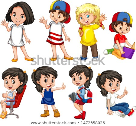 Many children with happy face doing different actions Stock photo © bluering
