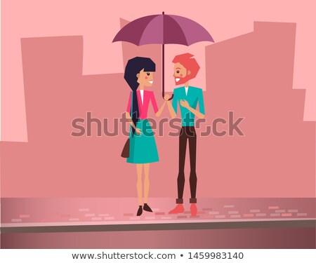 Aranyos pár tart esernyő utca randizás Stock fotó © robuart