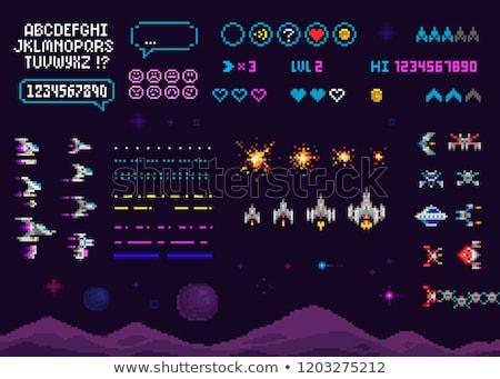 pixel · gioco · combattimento · ufo · vettore - foto d'archivio © robuart