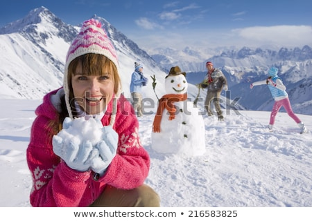 filho · pai · bola · de · neve · lutar · inverno · paisagem · família - foto stock © monkey_business