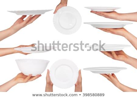 Stockfoto: Vrouwelijke · serveerster · platen · voedsel · keuken