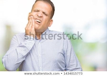 férfi · fogfájás · arc · orvosi · háttér · gyógyszer - stock fotó © dolgachov