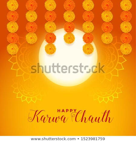 happy karwa chauth festival card with full moon and marigold flo Stock photo © SArts