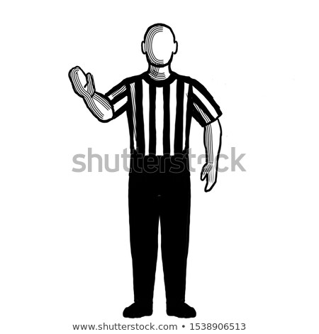 Basket arbitre main signal rétro blanc noir Photo stock © patrimonio