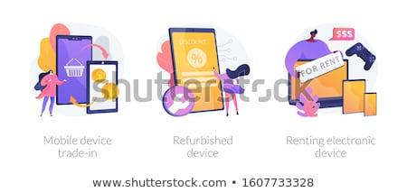 Eletrônico dispositivo homem computador portátil Foto stock © RAStudio