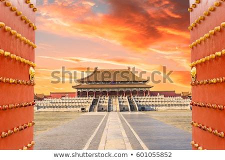 ősi királyi tiltott város égbolt piros oroszlán Stock fotó © galitskaya