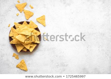 Mexican nachos chip salsa top view Foto d'archivio © karandaev