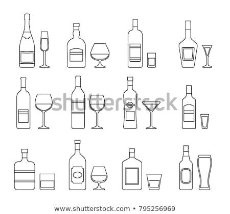 Rum pić butelki ikona wektora Zdjęcia stock © pikepicture