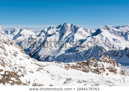 Beautiful nature of European Alps, landscape view of alpine mountains, lake and village on a sunny d Stock photo © Anneleven