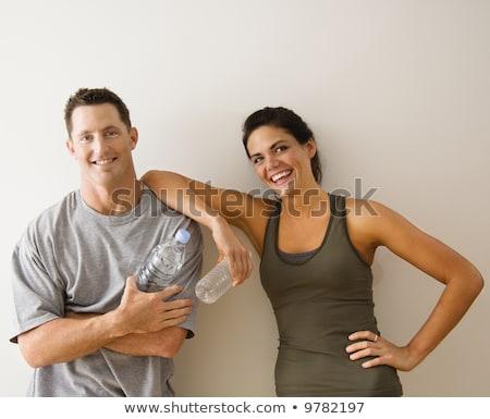 ficar · retrato · jovem · fitness · morena - foto stock © dacasdo