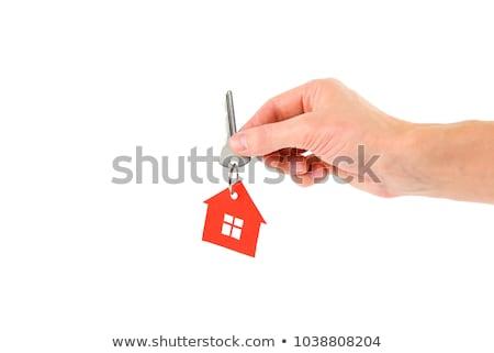 Stock fotó: Kéz · tart · kulcsok · ház · kék · ég · test