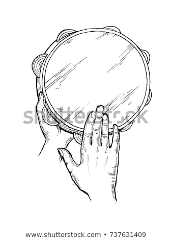Tambourine and hands Isolated On Black stock photo © mkm3