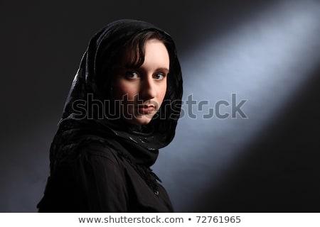 mooie · jonge · vrouw · hoofddoek · kerk · vreedzaam - stockfoto © darrinhenry