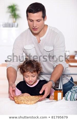 Lány felszolgált crepe asztal apa eszik Stock fotó © photography33