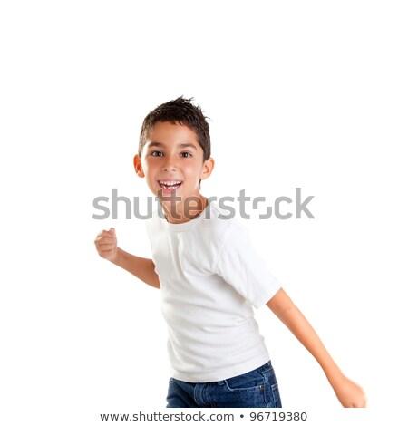 enfants · garçon · drôle · geste · souriant · blanche - photo stock © lunamarina