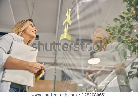 smiling business woman holding pads of notepaper Stock photo © Rob_Stark