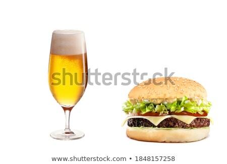Cheeseburger birra salute pomodoro picnic Foto d'archivio © ozaiachin