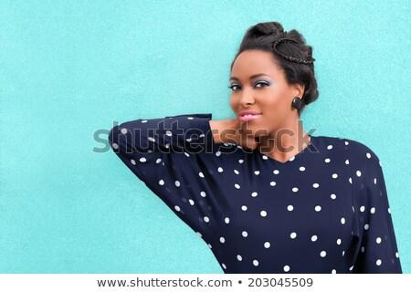 woman smiling with purple eyeshadow Stock photo © lubavnel