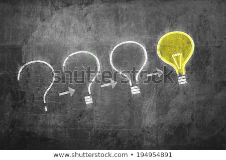 kérdés · válasz · szimbólumok · iskolatábla · rajzolt · kréta - stock fotó © bbbar