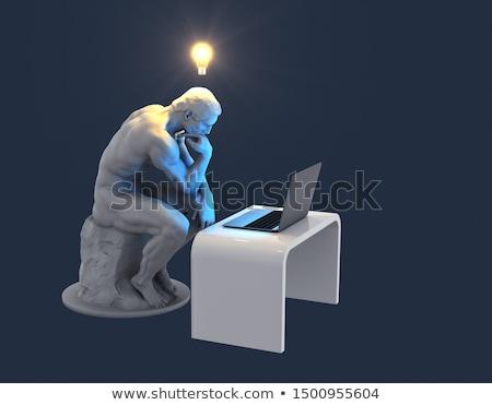 Pensador caucásico hombre pensando plantean blanco Foto stock © tiero
