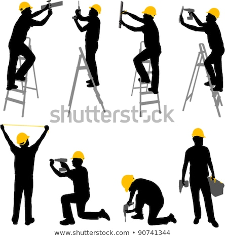 Man ladder hamer business glimlach gebouw Stockfoto © photography33