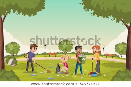 Teens gathered on park bench Stock photo © photography33
