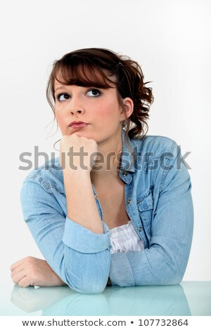 genç · kız · bakıyor · şaşkın · yüz · yumruk - stok fotoğraf © photography33