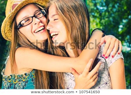 cama · atraente · risonho · meninas - foto stock © candyboxphoto