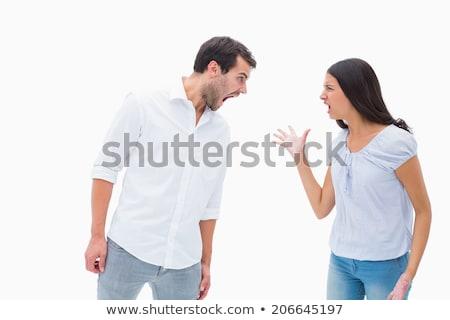Wściekłość człowiek biały działalności twarz Zdjęcia stock © pzaxe