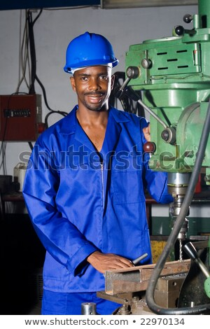mavi · yakalı · işçi · portre · mutlu · kadın · doktor - stok fotoğraf © photography33
