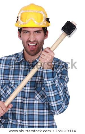 Angry construction worker with a sledgehammer Stock photo © photography33